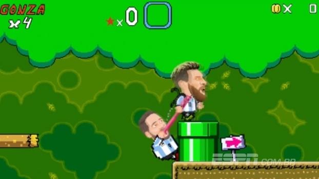 Na pele de Super Mario: Animação traz Higuaín derrubando Messi em videogame