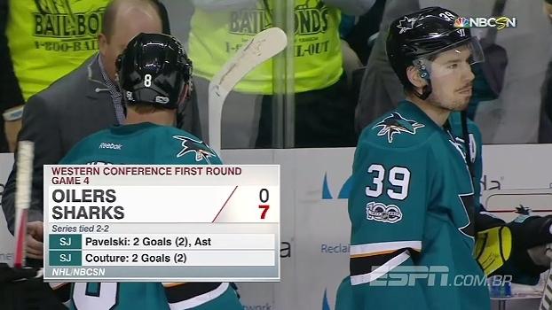 Sharks atropelam Oilers por 7 a 0 e empatam série na NHL