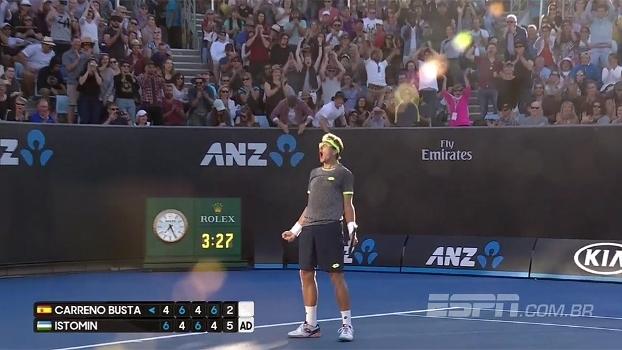 Australian Open: Lances de Istomin 3 x 2 Busta (6-4, 4-6, 6-4, 4-6 e 6-2)