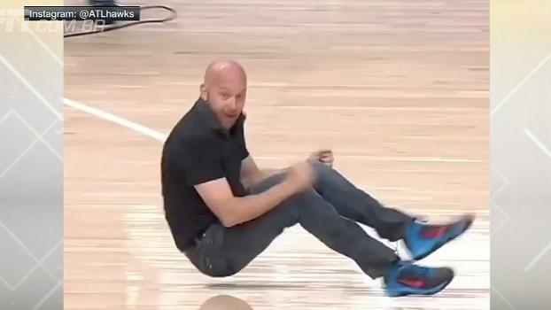 Perdeu a linha! Torcedor consegue enterrada durante intervalo da NBA e fica empolgadão