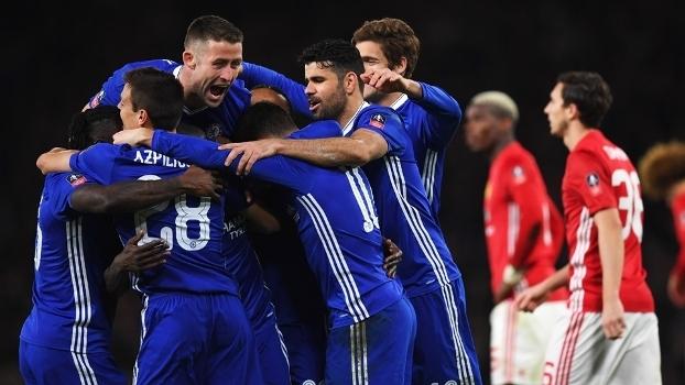 Copa da Inglaterra (quartas): Gol de Chelsea 1 x 0 Manchester United