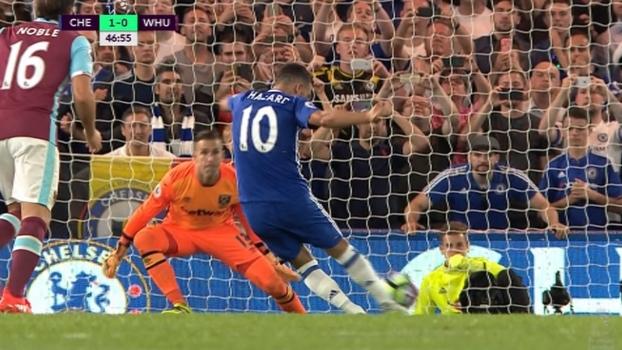 Tempo real: GOL do Chelsea! Hazard cobra pênalti com força, no meio do gol, e abre o placar