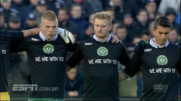 'Nós estamos com você': veja homenagens à Chapecoense antes de Feyenoord x Sparta Rotterdam