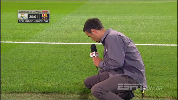 Sorin pede, e João Castelo-Branco enfia dedo no gramado do Bernabéu para 'testar' qualidade do campo