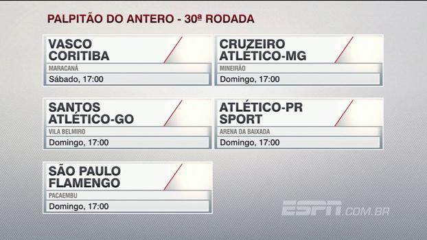 Confira o palpitão do Antero Greco para os jogos da 30ª rodada do Campeonato Brasileiro