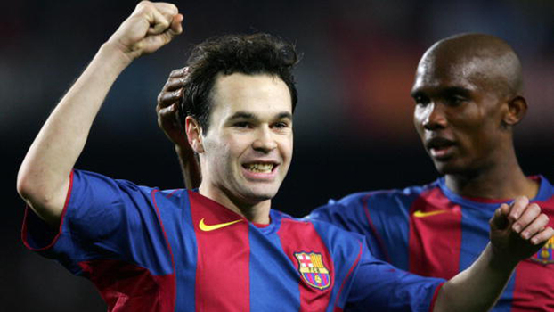 Arrancada de Eto'o, chutaço de Deco e gol de Iniesta: em 2004, Barcelona goleou Málaga