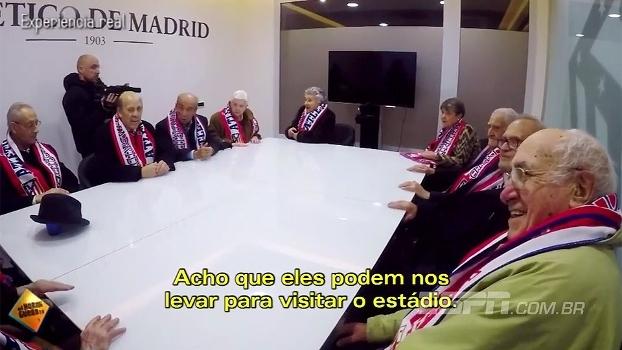 Emocionante! Sócios mais antigos do Atlético de Madri recebem homenagem surpresa no Vicente Calderón