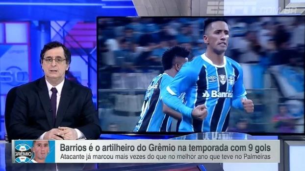 Antero elogia fase de Lucas Barrios no Grêmio: 'Fez a opção correta. Tem sido decisivo'
