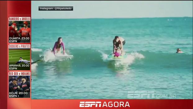 Fofura! Filipe Toledo leva filha para surfar pela primeira vez