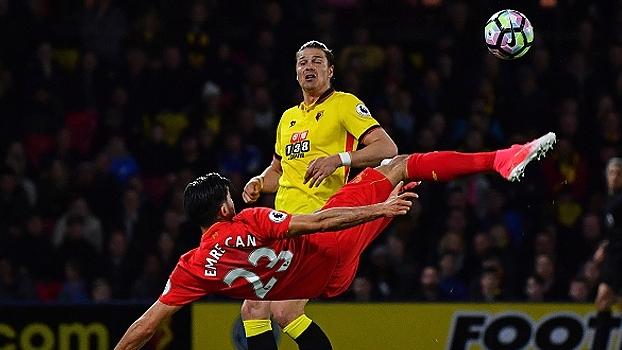 Pintura de Emre Can contra o Watford foi escolhido como o gol mais bonito da Premier League