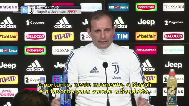 Allegri fala antes do duelo entre os lideres e aponta o Napoli como favorito ao título italiano