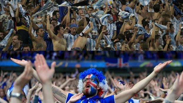 Força da arquibancada: relembre grandes momentos das torcidas da Islândia e da Argentina, adversários na Rússia