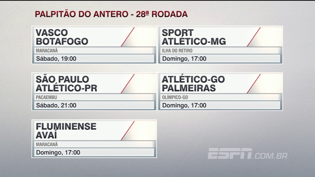 Assista a palpitão do Antero Greco para os jogos da 28ª rodada do Brasileiro