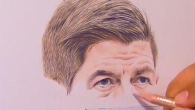 Gerrard ganha réplica perfeita de artista; veja o passo a passo do desenho
