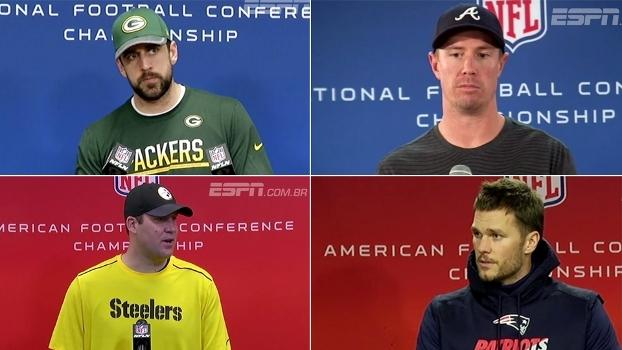 Rodgers confiante, Ryan pronto para o melhor, Brady focado e Big Ben 'coletivo': o que pensam os QBs das finais