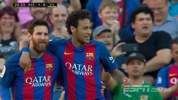 GOL do Barcelona! Neymar aproveita bola desviada em chute de Messi e toca  na saída 874920e937e30