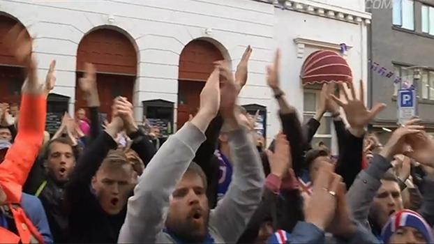 Torcedores da Islândia fazem festa mesmo após a eliminação da Eurocopa