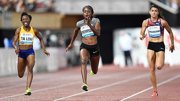 Com dois ouros no Rio, Elaine Thompson brilha na Suíça e é campeã nos 100m
