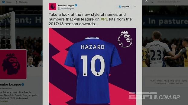 Padrão! Premier League divulga modelo de nome e número dos uniformes dos times ingleses