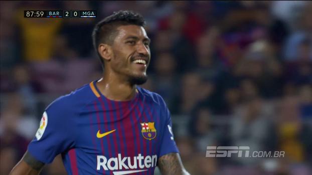 Tempo real: Paulinho recebe na área, bate colocado, mas goleiro do Malaga vai buscar