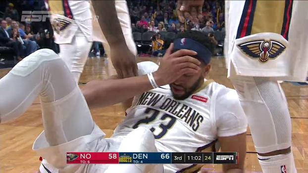 Sem Anthony Davis, que saiu da partida após levar cabeçada, Pelicans perdem para Nuggets