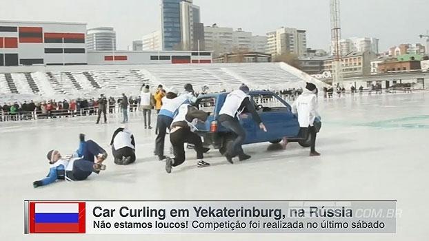 Nova moda? Na Rússia, curling, curioso esporte olímpico, é reproduzido com carros