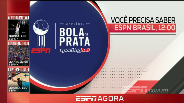 Prêmio Bola de Prata, NFL e Campeonato Italiano: veja os destaques desta segunda nos canais ESPN
