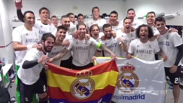 Veja como o Real comemorou a classificação à final da Champions no vestiário do Vicente Calderón