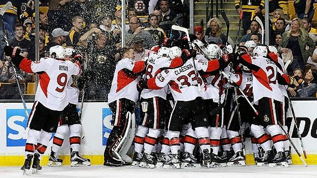 Senators batem Bruins na prorrogação e fecham série; Capitals vencem Maple Leafs e também avançam nos playoffs