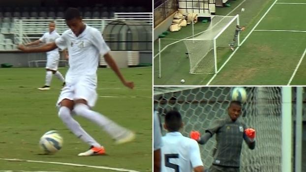 Zagueiro dá bicão para trás, goleiro tenta cabecear e Santos sub-20 toma gol contra bizarro