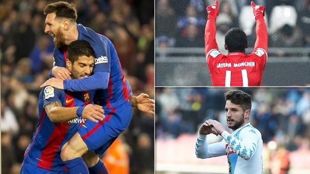Cobertura de Mertens, bomba de Douglas Costa, Suárez após maravilha de Messi e mais no 'Top 10' de golaços