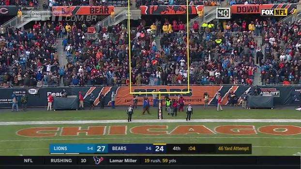 Bears erram field goal de 46 jardas no último lance, e Lions vencem fora de casa