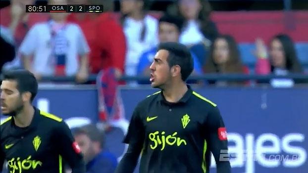 Assista aos gols do empate por 2 a 2 entre Osasuna e Sporting Gijón