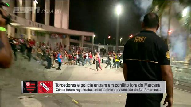 Antes de final da Sul-Americana, torcedores e polícia entram em conflito fora do Maracanã