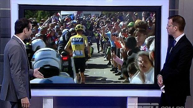 No Tour de France, Chris Froome tem bicicleta quebrada em acidente e decide correr