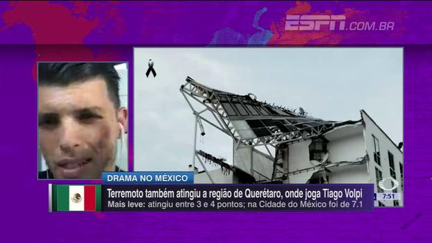 Tiago Volpi, goleiro do Querétaro, do México, fala sobre toda a situação causada pelo terremoto no país