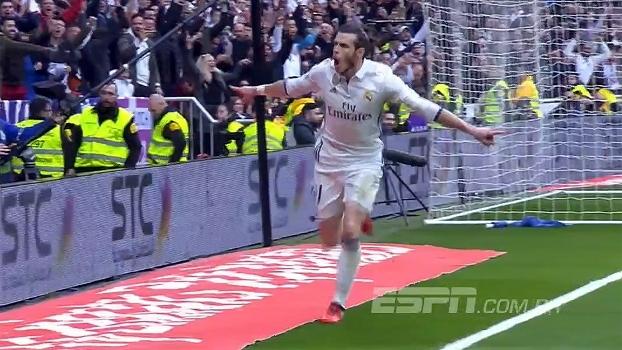 Tempo real: GOL do Real Madrid! Bale é lançado por Isco na esquerda, avança e bate cruzado para marcar