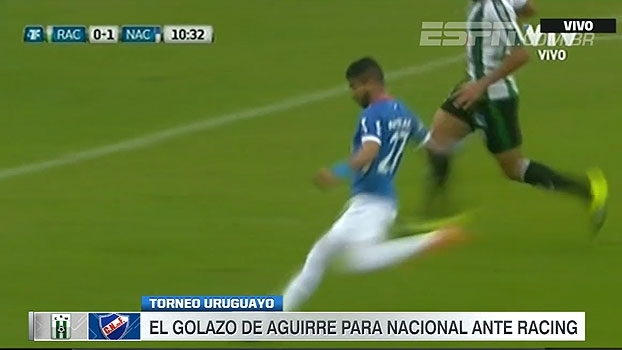 Atacante do Nacional anota golaço contra o Racing no Campeonato Uruguaio