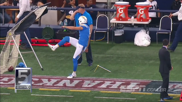 Kicker errando alvo a 1m de distância, e LeBron levando toco do aro são os destaques do Not Top 10 da semana