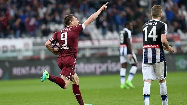 Torino sai atrás da Udinese, mas empata com gol de Belotti no fim