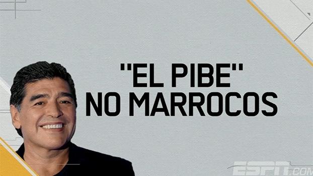 Em Marrocos, Maradona participa de jogo festivo e marca golaço