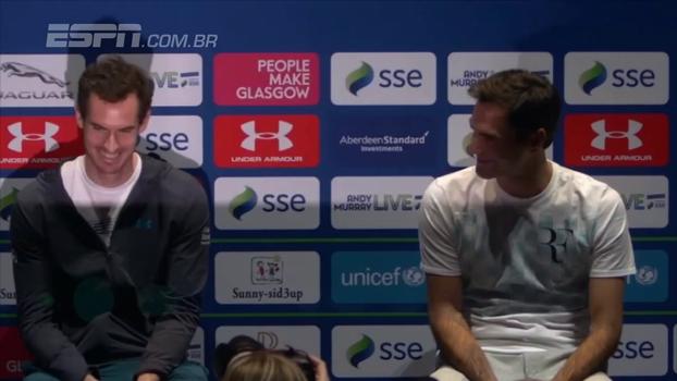 Federer dá conselho a Murray sobre volta de lesão e esbanja classe: 'Senti sua falta, cara!'