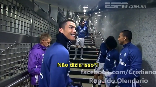 bcd4d5e23 Cristiano Ronaldo imita Felipão em brincadeira com Marcelo