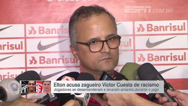 """Vice de futebol do Inter diz que Cuesta nega ter chamado Elton de """"macaco"""": """"Não usou esses termos"""""""