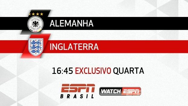 Amistoso internacional na ESPN Brasil e no WatchESPN, quarta, 16h45: Alemanha x Inglaterra