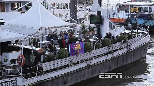 Com sede em barco, organizada do Barça em Londres conta com integrantes de diferentes nacionalidades