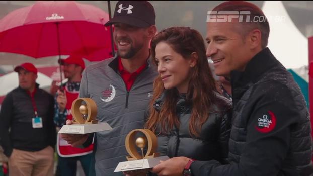 Ao lado de atriz norte-americana, Michael Phelps conquista torneio de golfe para celebridades na Suíça