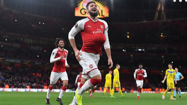 Assista aos gols da vitória do Arsenal sobre o BATE Borisov por 6 a 0!