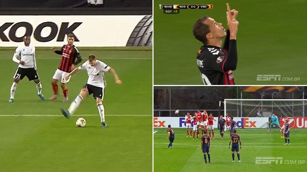 Passe de Bendtner de calcanhar, cobertura absurda de brasileiro e falta 'na gaveta': os golaços do dia na Europa League