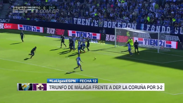Em jogo de duas viradas, Málaga derrota La Coruña e vence a segunda no espanhol